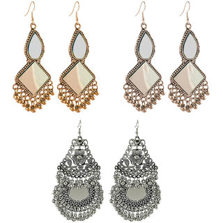 Aabhu Fashionable Modish Fancy Party Wear Regular Combo of 3 Pair Earrings