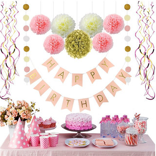 Buy Pink And Gold Birthday Decorations Pom Poms Flowers Kit Happy Bannerpaper GarlandHanging Swirl For 1st Birt Online 1799 From ShopClues