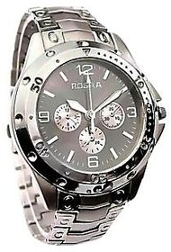 ROSRA SILVER ROUND DIAL PARTY WEAR WATCH FOR MEN'S