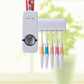 Touch Me Wall Mount White Automatic Toothpaste Dispenser with Toothbrush Holder