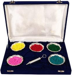 Holi Special Silver Pichkari (13cm) And 5 Bowl Set Gift Hamper