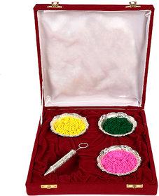 Holi Special Silver Pichkari (13cm) With 3 Bowl Gift Hamper