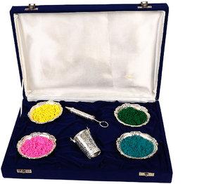 HOLI Special Silver Pichkari (13cm), Bucket And 4 Bowl Gift Set