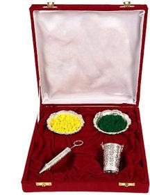 JEWEL FUEL Holi Special Silver Pichkari (13cm), Bucket And 2 Bowl Set Gift Hamper
