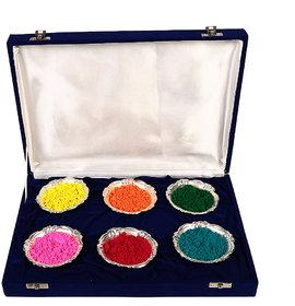 Holi Special 6 Silver Bowl With Velvet Box Gift Hamper