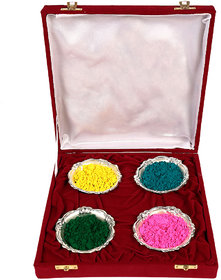 Holi Special 4 Silver Bowl With Velvet Box Gift Hamper
