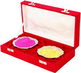 Holi Special 2 Silver Bowl Set With Velvet Box Gift Hamper