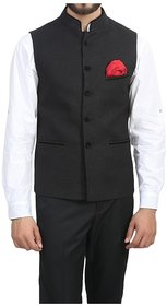 OORA HARTMANN Men's Black Color Woven Cotton Blend Nehru and Modi Jacket Ethnic Style For Party Wear