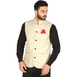 OORA HARTMANN Men's Light Golden Color Woven Cotton Blend Nehru and Modi Jacket Ethnic Style For Party Wear