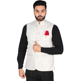 OORA HARTMANN Men's Light Color Woven Cotton Blend Nehru and Modi Jacket Ethnic Style For Party Wear