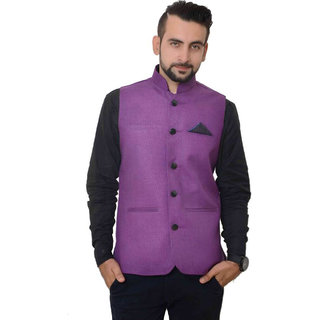 OORA HARTMANN Men's Purple Color Woven Cotton Blend Nehru and Modi Jacket Ethnic Style For Party Wear