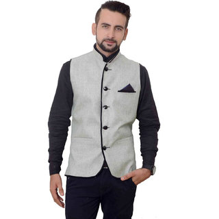 OORA HARTMANN Men's Grey with Black Coller Piping  Woven Cotton Blend Nehru and Modi Jacket Ethnic Style For Party Wear