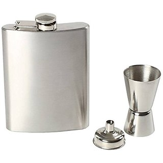 Mr. Alex Stainless Steel Silver Hip Flask 7 Oz (210 Ml), Steel Peg Measure  Funnel , Pack of 3