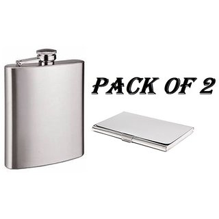 Mr. Alex Stainless Steel Silver Hip Flask 7 Oz (210 Ml), Steel Silver Card Holder , Pack of 2