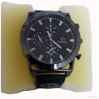 Ismart Black Analog Compass Watch For Boys  Girls