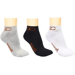 52b3e9a6b Buy Amicraft Men s Cotton Ankle Length Socks - Pack of 3 - Black White Gray  Online - Get 70% Off