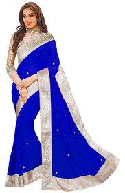 Sunsilk Blue Chiffon Lace Saree With Blouse