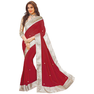 Sunsilk Maroon Chiffon Lace Saree With Blouse