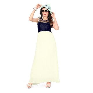 Aika Womens Georgette Crashing Work Readymade Gown (Free SizeBlue)-G-68 Pleting Blue