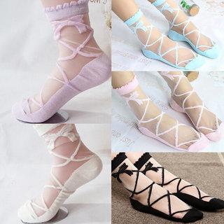 Nandini Women Girl Lovely Bowknot Sheer Mesh Transparent Socks Short Ankle breathable Hosiery (2 Pairs)