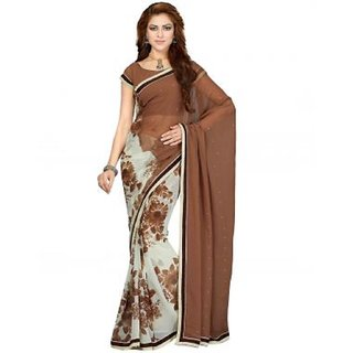 Off White And Beige Color Faux Chiffon Saree With Blouse
