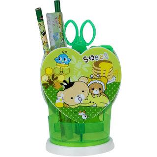 ZEVORA Geometry stand Bear Art Plastic Pencil Box (Set of 1, Green)