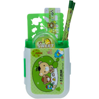 ZEVORA Stationery stand Bear Art Plastic Pencil Box (Set of 1, Green)