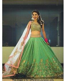 Greenvilla Designs Green Silk Lehenga