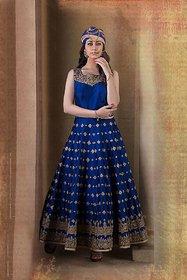 Greenvilla Designs Royal Blue Banglori Silk Anarkali Dress