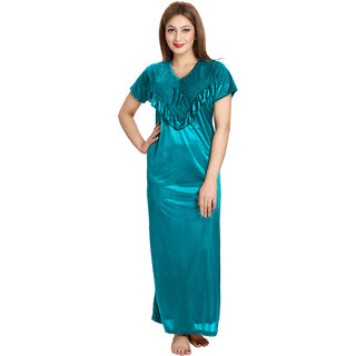 Be You Women's Teal Solid Satin Night Gowns  Nighty Single