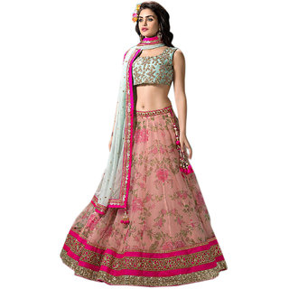 51f69ac4a8a42 Buy Greenvilla Designs Pink And Sky Blue Nylon Net Partywear Lehenga Online    ₹3499 from ShopClues