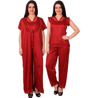RAJAN  TRADERS Maroon Satin Plain Pyajama Set