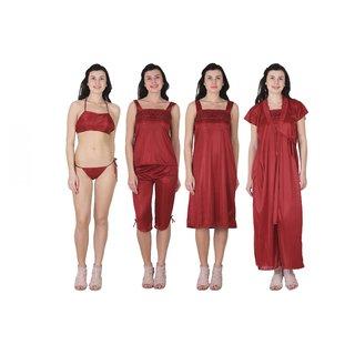 RAJAN  TRADERS Maroon Satin Plain Nightwear Sets