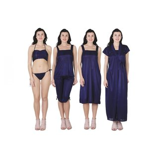 RAJAN  TRADERS Blue Satin Plain Nightwear Sets