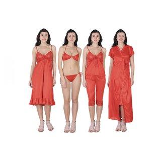 RAJAN  TRADERS Indigo Satin Plain Nightwear Sets