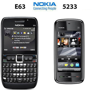 Nokia E63 Mobile Phone with Nokia 5233 Mobile Phone Refurbished (6 Months Seller Warranty)