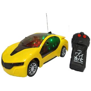 New Pinch Remote Control 3D lighting Effect Racing Car With 2 Functions (Forward, Backward) For Kids (multicolor)