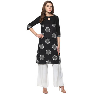 Rangeelo Rajasthan Black Printed Cotton Stitched Kurti