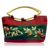Maroon & Green All Time Hit Embroidered Silk Handbag
