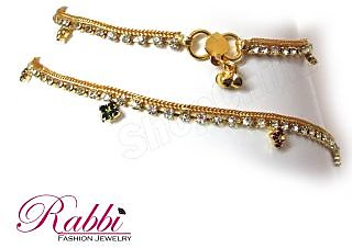 Rabbi Gold plated anklet (payal) with Flora AN07GWSF