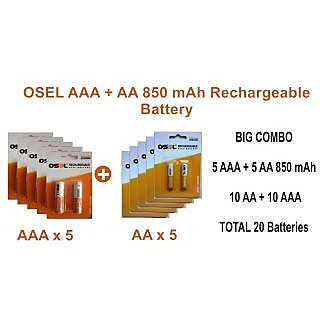 Osel Combo AAA + AA 850 MAh Rechargeable Battery ( Pack Of  10 ) Total 20 Batteries