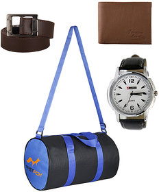 Fast Fox Blue Black Gym Bag, Belt, Wallet and Watch Combo