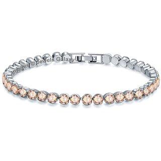 Jewels Galaxy Crystal Elements Exclusive Luxuria Rhodium Plated Single Light Orange Strand Bracelet For Women & Girls