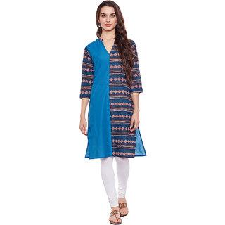 Rangeelo Rajasthan Blue Printed Cotton Stitched Kurti
