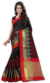 Satyam Weaves Black Cotton Self Design Saree With Blouse