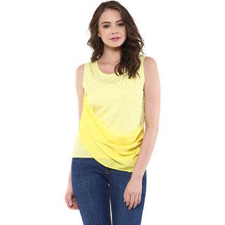 Abiti Bella Women's Pastel yellow geometric print layered indo western top