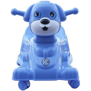 ZINIZONY Gold Baby Potty Trainer Cum Rider With Wheels And Music (Blue)