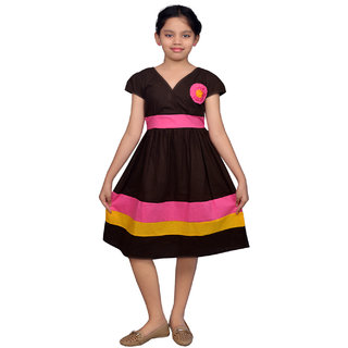 246afdcb2029 Buy Ssmitn Brown Cotton Knee Length Frock for Girls (SK7010) Online ...
