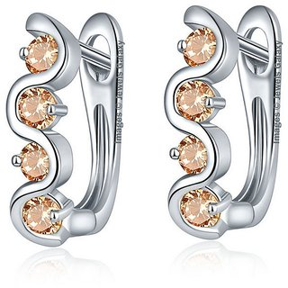 Jewels Galaxy Exlcusive Luxuria AAA Top Quality Cubic Zirconia Beige Color Clip On Earrings For Women/Girls