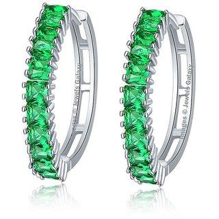 Jewels Galaxy Exlcusive Luxuria AAA Top Quality Cubic Zirconia Greeen Clip On Earrings For Women/Girls